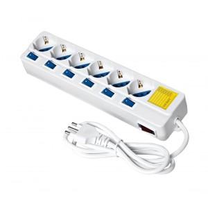 Ciabatta multipresa salva spazio 6 posti con interruttori luminosi indipendenti ogni singola presa 16 A 2500 Watt