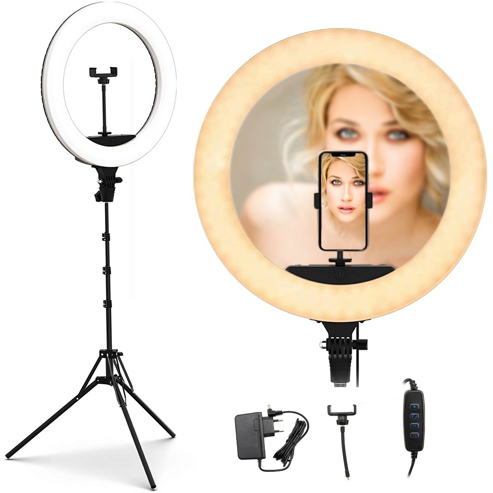 Lampada ad anello luce led 35 cm faro selfie con treppiedi 187158 potenziometro