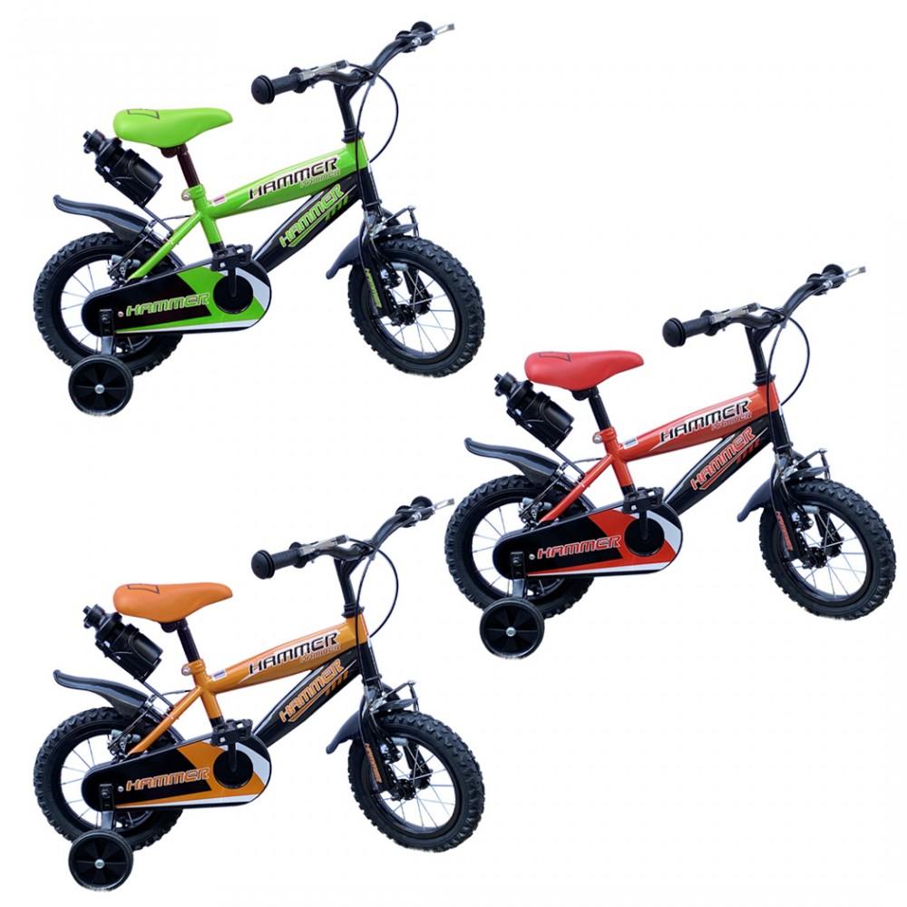 """Bicicletta Hammer 12"""" borraccia e telaio in acciaio per bambini età 3-5 anni"""