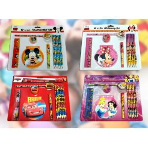 Set cancelleria scuola 12 pezzi personaggi Disney Stationary set