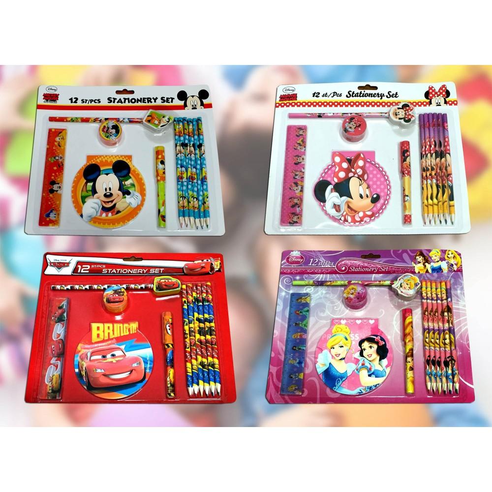 Set cancelleria scuola 12 pezzi con personaggi Disney Stationary set in blister 20131089