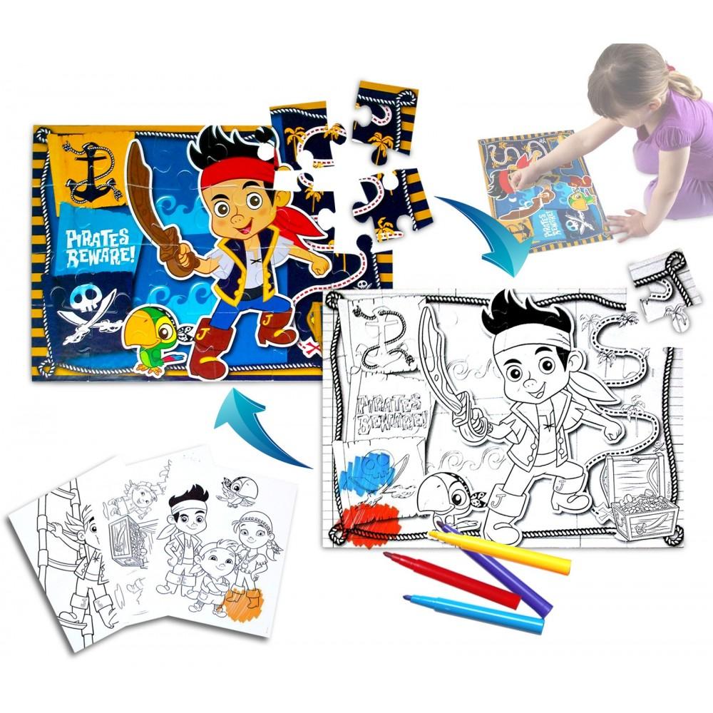 Puzzle 24 pezzi 2 in 1 JAKE IL PIRATA doppio utilizzo poster da colorare  41 x 28 cm DISNEY 726571
