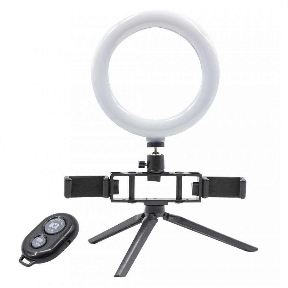 Anello 20 cm selfie LED con 2 supporti 730492 per smartphone 3 modalità di luce