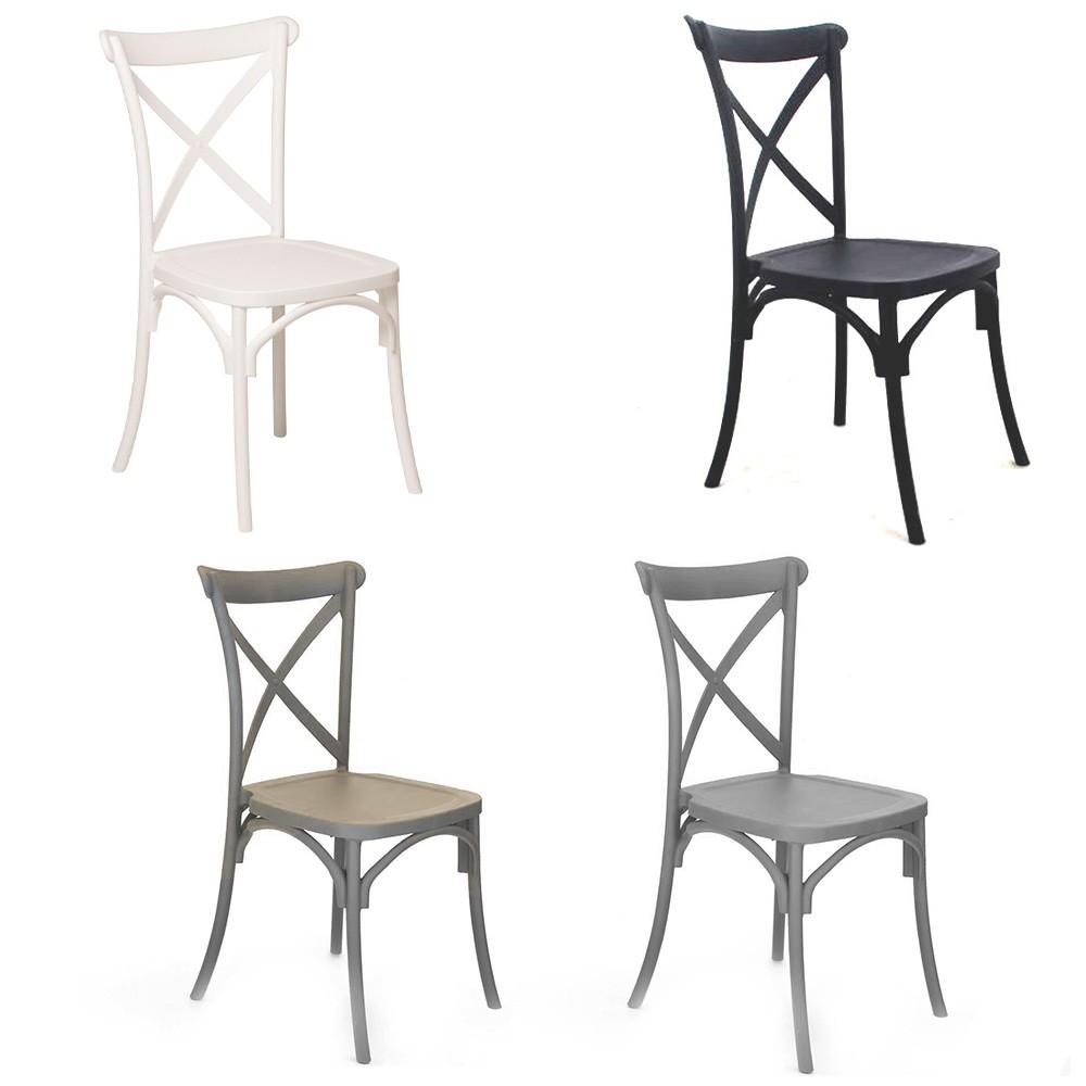 Set 2 sedie Country realizzata in polipropilene rinforzata con fibra di vetro
