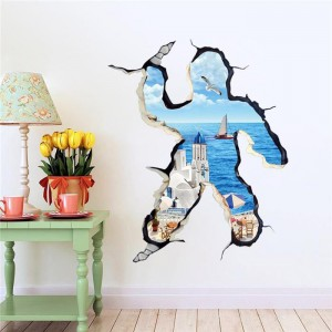 "Adesivo decorativo con effetto in 3d ""fuga al mare"" sea wall sticker 3d effect per arredare con stile 70x100cm"