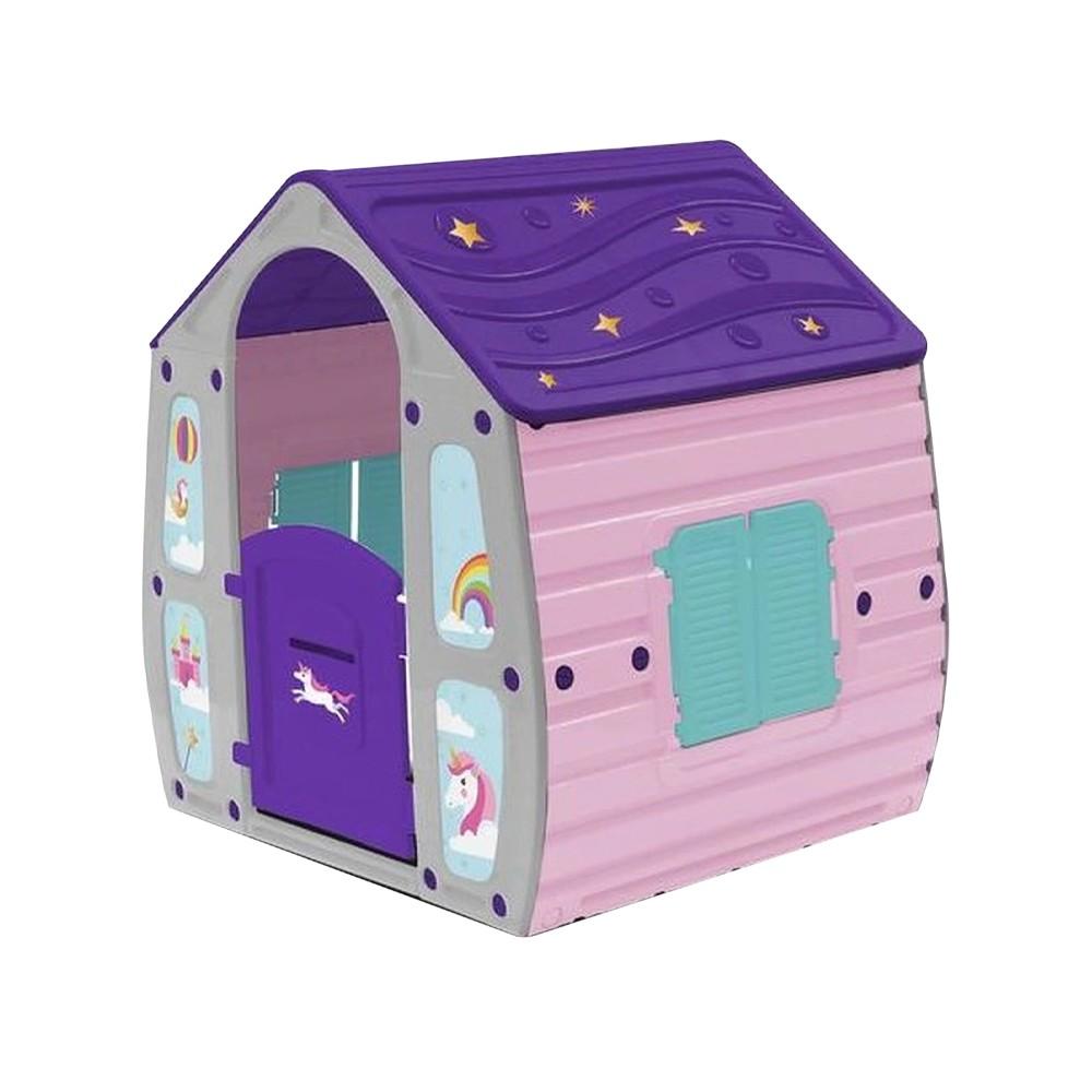 Casetta per Bambini da Giardino Unicorno 562109 Casa da Gioco Bimbi 102x89xH109