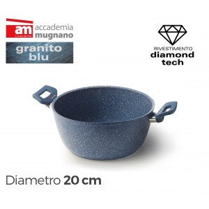 Casseruola con due maniglie antiaderente 20 cm rivestimento Diamond Tech effetto pietra Accademia Mugnano GRANITO BLU
