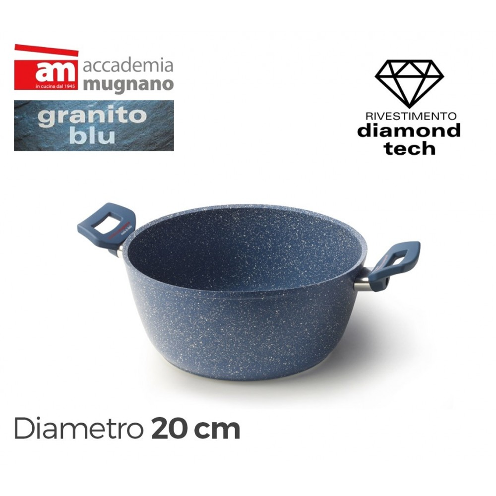 Casseruola antiaderente con due maniglie 20 cm Diamond Tech Accademia Mugnano GRANITO BLU