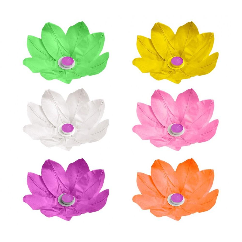 Lanterna fiore di loto galleggiante 30 x 30 cm 05237 colori assortiti