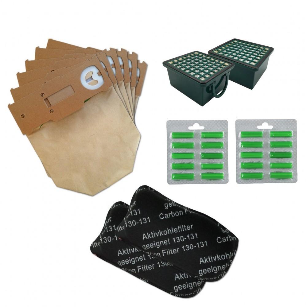 kit Compatibili Vk130 Folletto 12 Sacchetti 2 Filtri 2 Microfiltri 20 Profumini