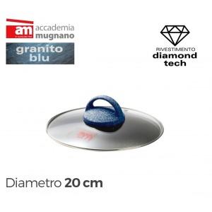 Coperchio in vetro 20 cm Accademia Mugnano linea GRANITO BLU Diamond Tech