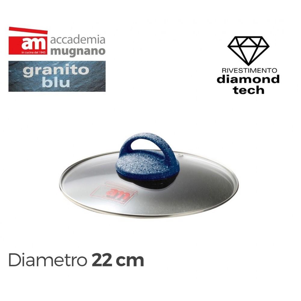 Coperchio in vetro 22 cm Accademia Mugnano linea GRANITO BLU Diamond Tech