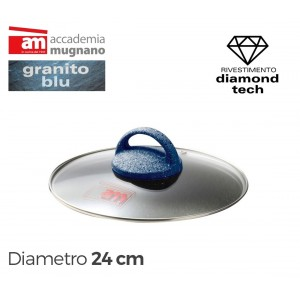 Image of Coperchio in vetro 24 cm Accademia Mugnano linea GRANITO BLU Diamond Tech 8018651795109