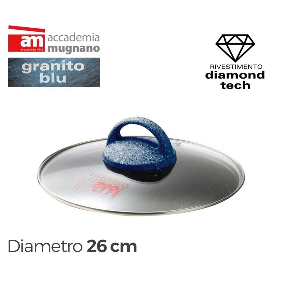 Coperchio in vetro 26 cm Accademia Mugnano linea GRANITO BLU Diamond Tech