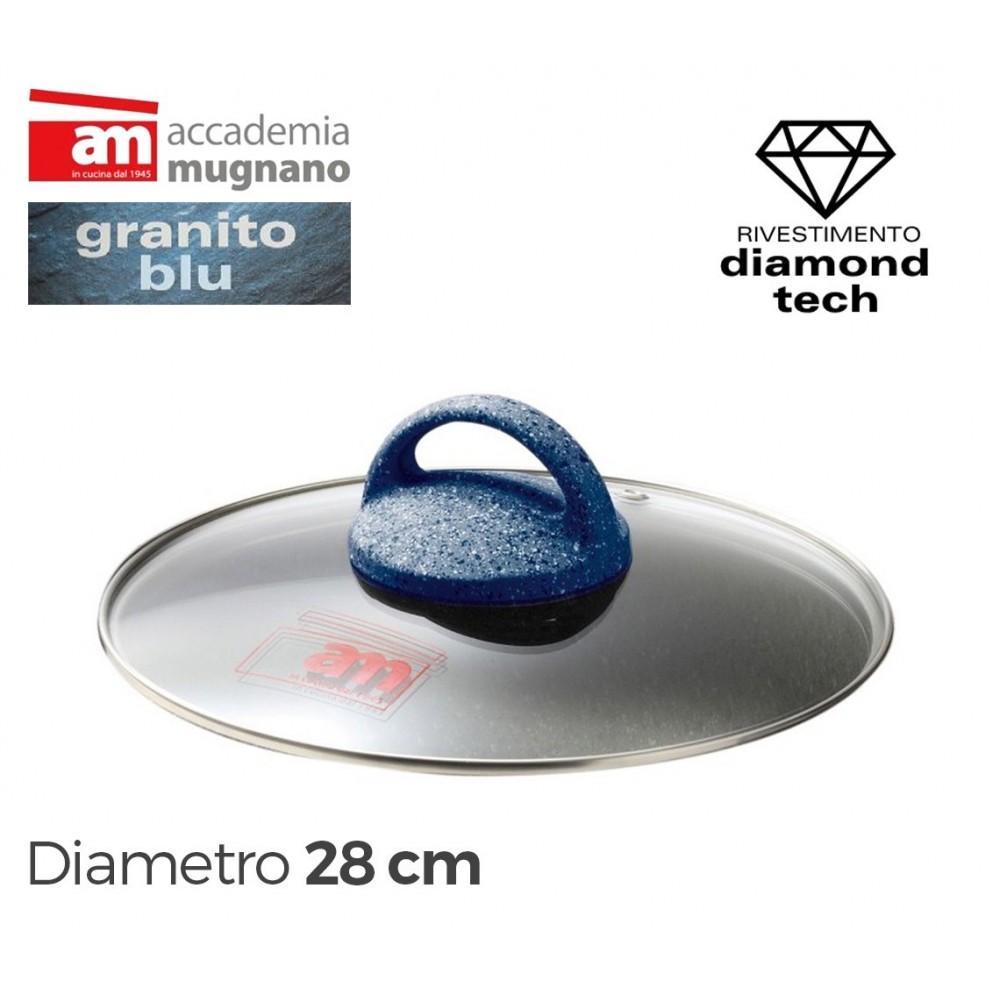 Coperchio in vetro 28 cm Accademia Mugnano linea GRANITO BLU Diamond Tech
