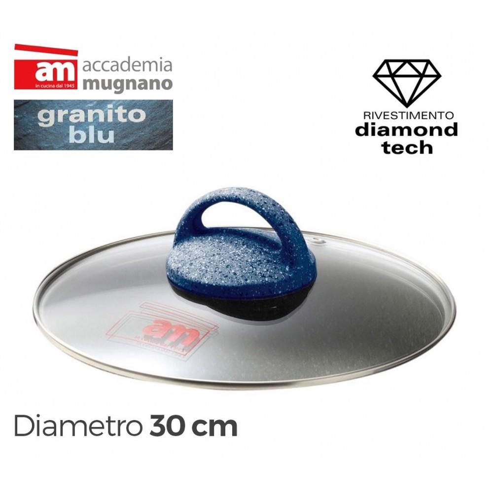 Coperchio in vetro 30 cm Accademia Mugnano linea GRANITO BLU Diamond Tech