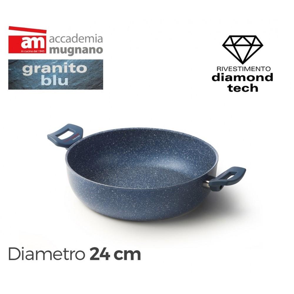 Tegame con due maniglie 24cm effetto pietra Accademia Mugnano GRANITO BLU
