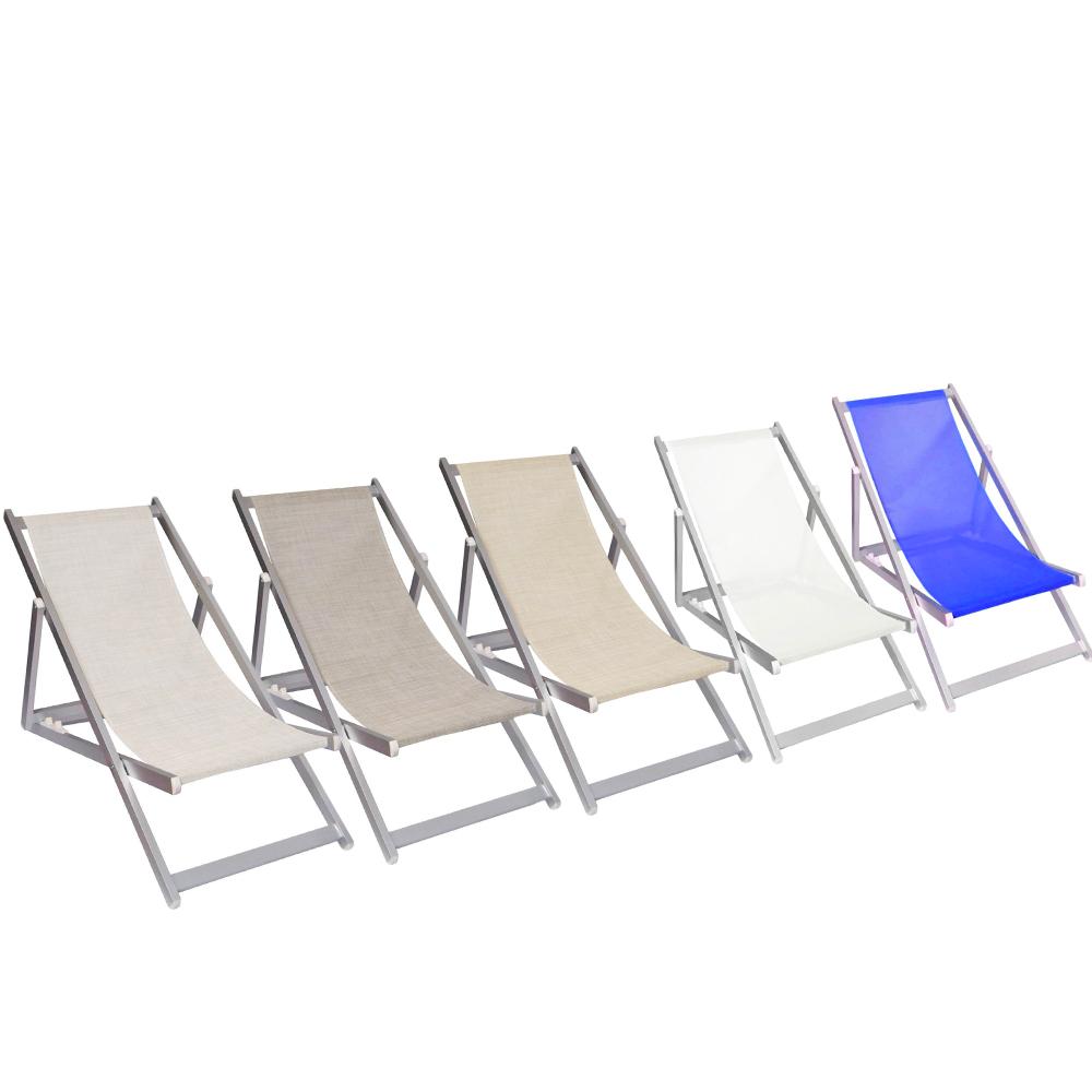 Sedia sdraio pieghevole Soverato 3 Posizioni Struttura in Alluminio e Textilene
