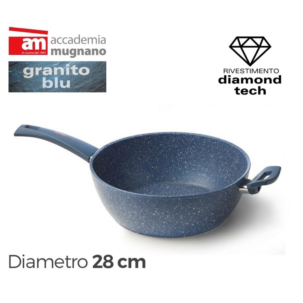 Tegame semifondo antiaderente 28 cm rivestimento Diamond Tech effetto pietra Accademia Mugnano GRANITO BLU