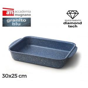 Teglia rettangolare antiaderente 30x25 cm Diamond Tech effetto pietra Accademia Mugnano GRANITO BLU