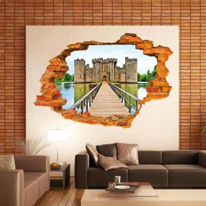 Adesivo decorativo con effetto in 3d ANCIENT CASTLE wall sticker 3d effect per arredare con stile 60x90 cm