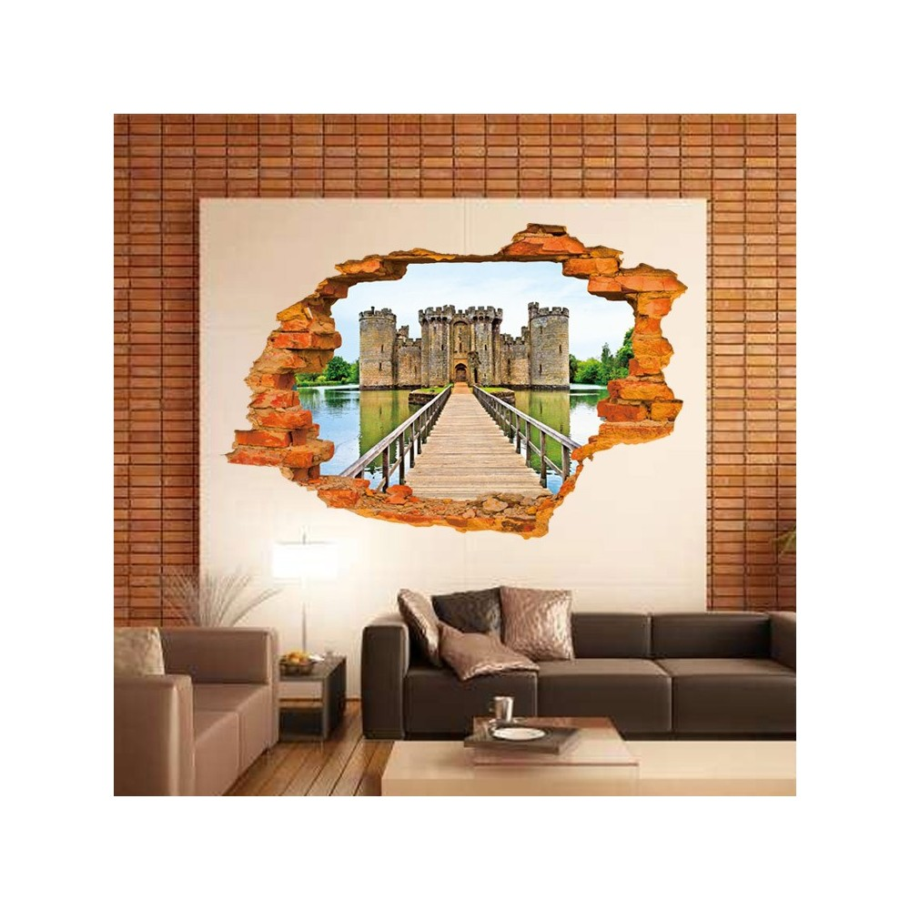 Adesivo decorativo effetto 3d ANCIENT CASTLE wall sticker per arredare con stile 60x90 cm
