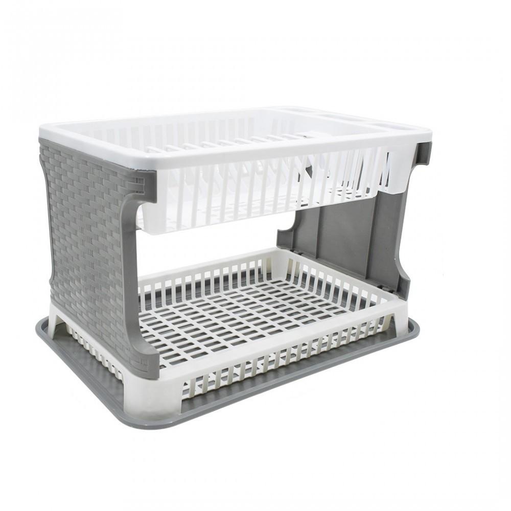 Scolapiatti da Appoggio in Plastica 26029 2 Livelli in Rattan per Lavello Cucina