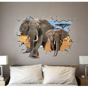 "Adesivo decorativo con effetto in 3d ""Africa"" elephants wall sticker 3d effect per arredare con stile 100x70cm"