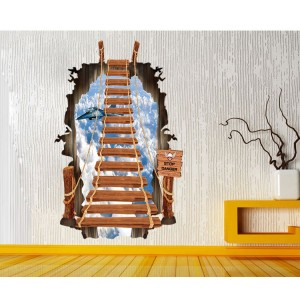 "Adesivo decorativo con effetto in 3d ""il ponte sospeso"" bridge wall sticker 3d effect per arredare con stile 60 x 90cm"