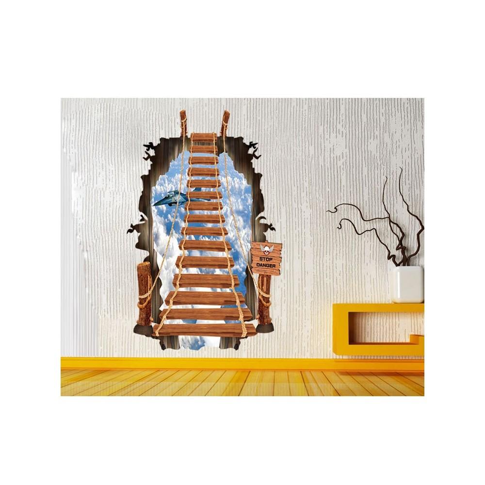 """Adesivo decorativo effetto 3d """" IL PONTE SOSPESO """" bridge wall sticker per arredare con stile 60 x 90cm"""