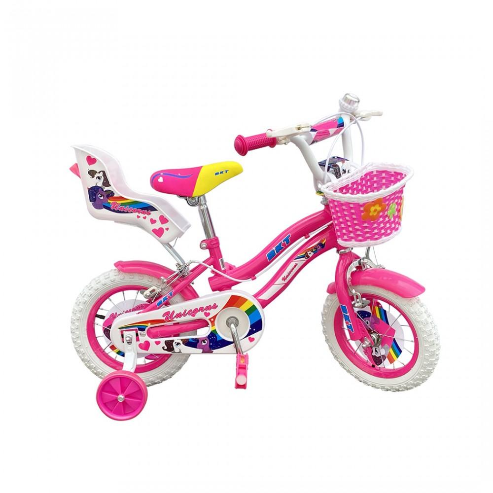 Bicicletta UNICORNO BKT taglia 12 bici per bambina età 2 - 5 anni con rotelle