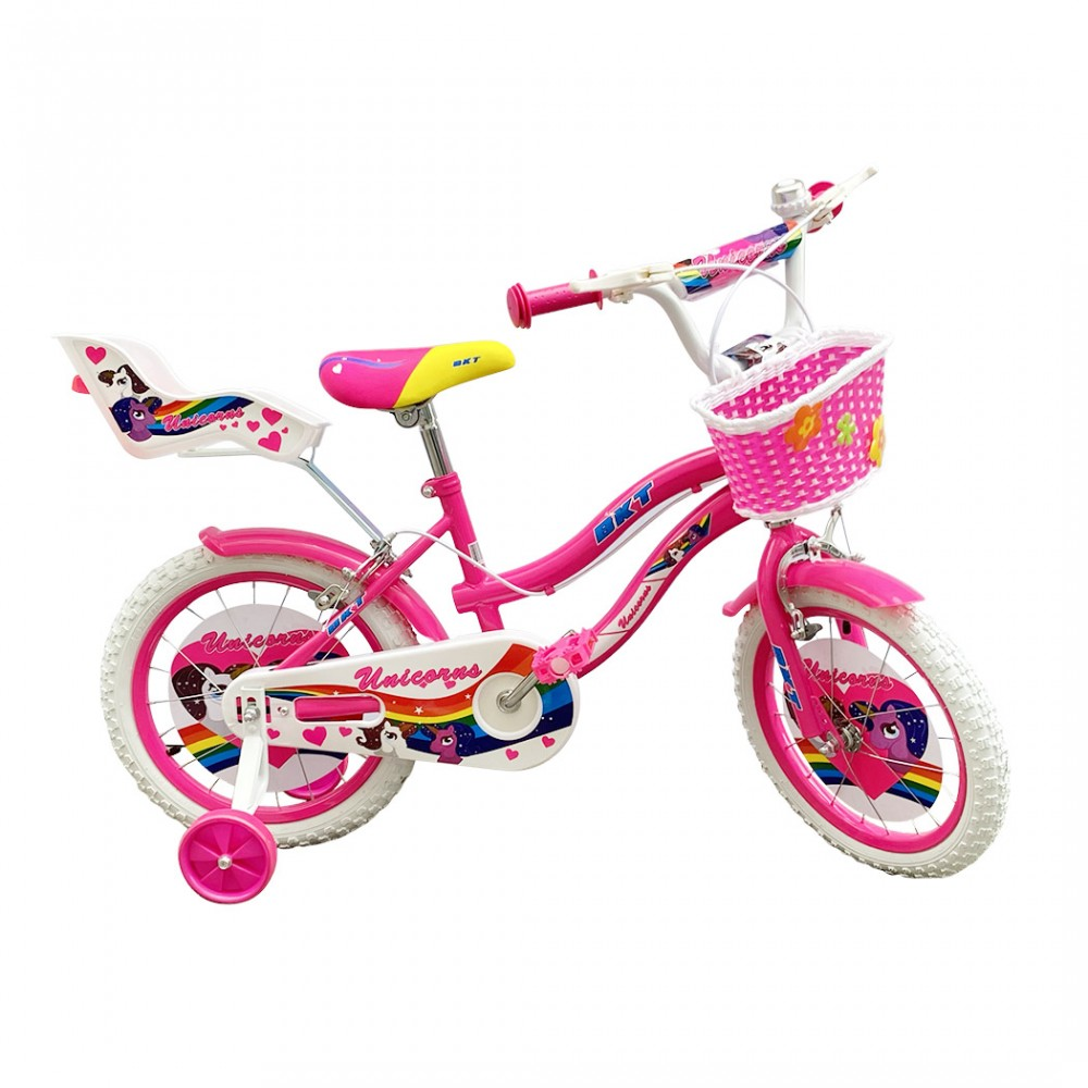 Bicicletta UNICORNO BKT taglia 16 bici per bambina età 5 - 8 anni con rotelle