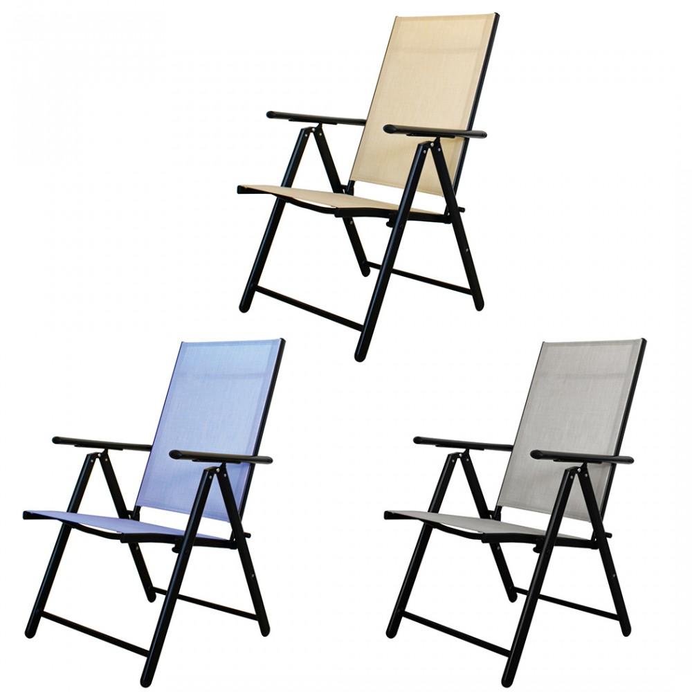 Sedia Relax Sdraio Regolabile in Tessuto Textilene per Esterno Arredo Giardino