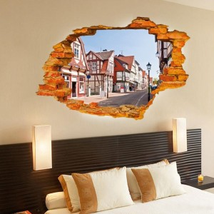 "Adesivo decorativo con effetto in 3d ""Street country"" wall sticker 3d effect per arredare con stile 60x90 cm"