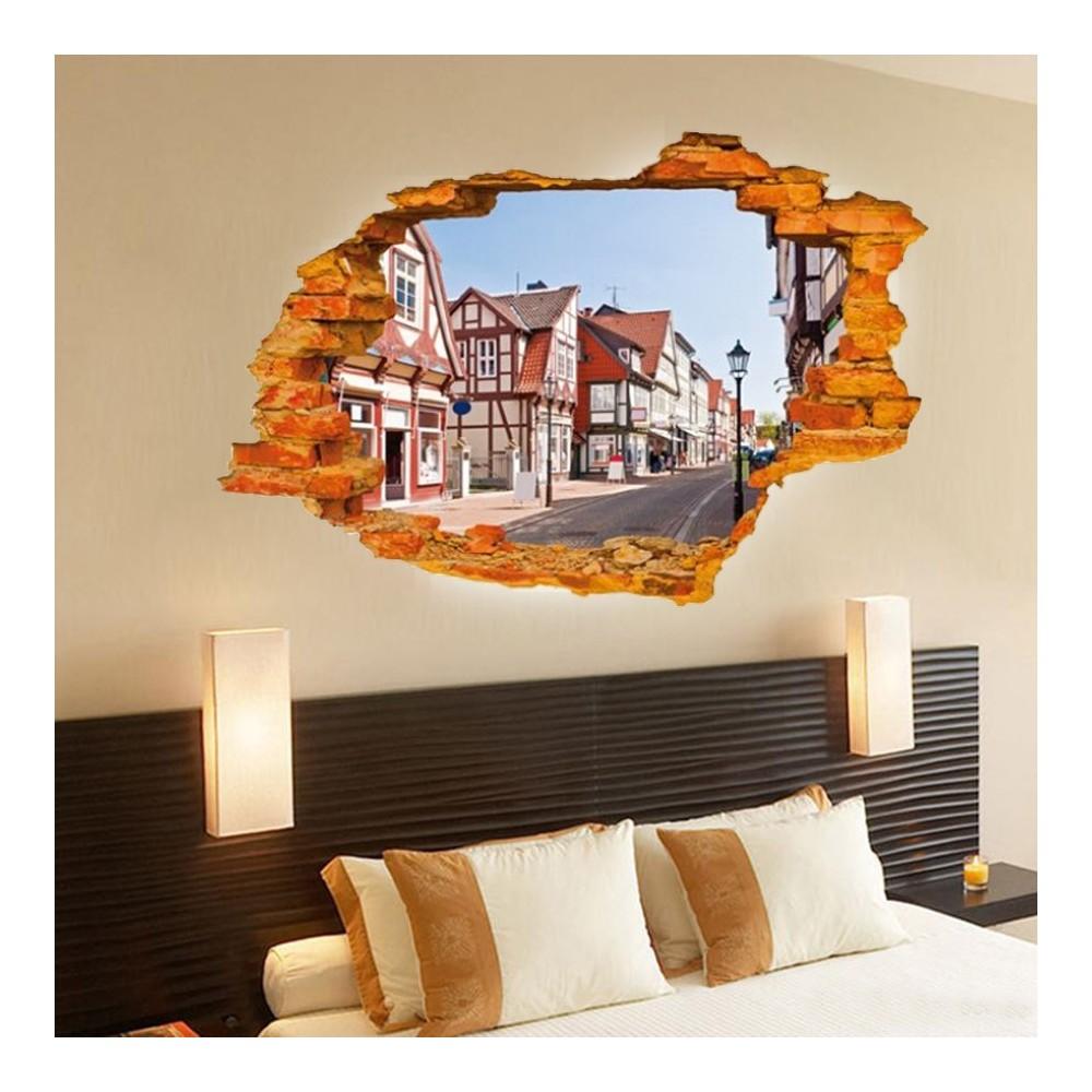 Adesivo decorativo con effetto in 3d street country wall for Arredare con stile