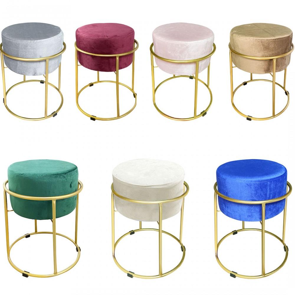 Sgabello Pouf in Morbido Velluto Design Luxury Struttura Metallo Color Oro 44x38