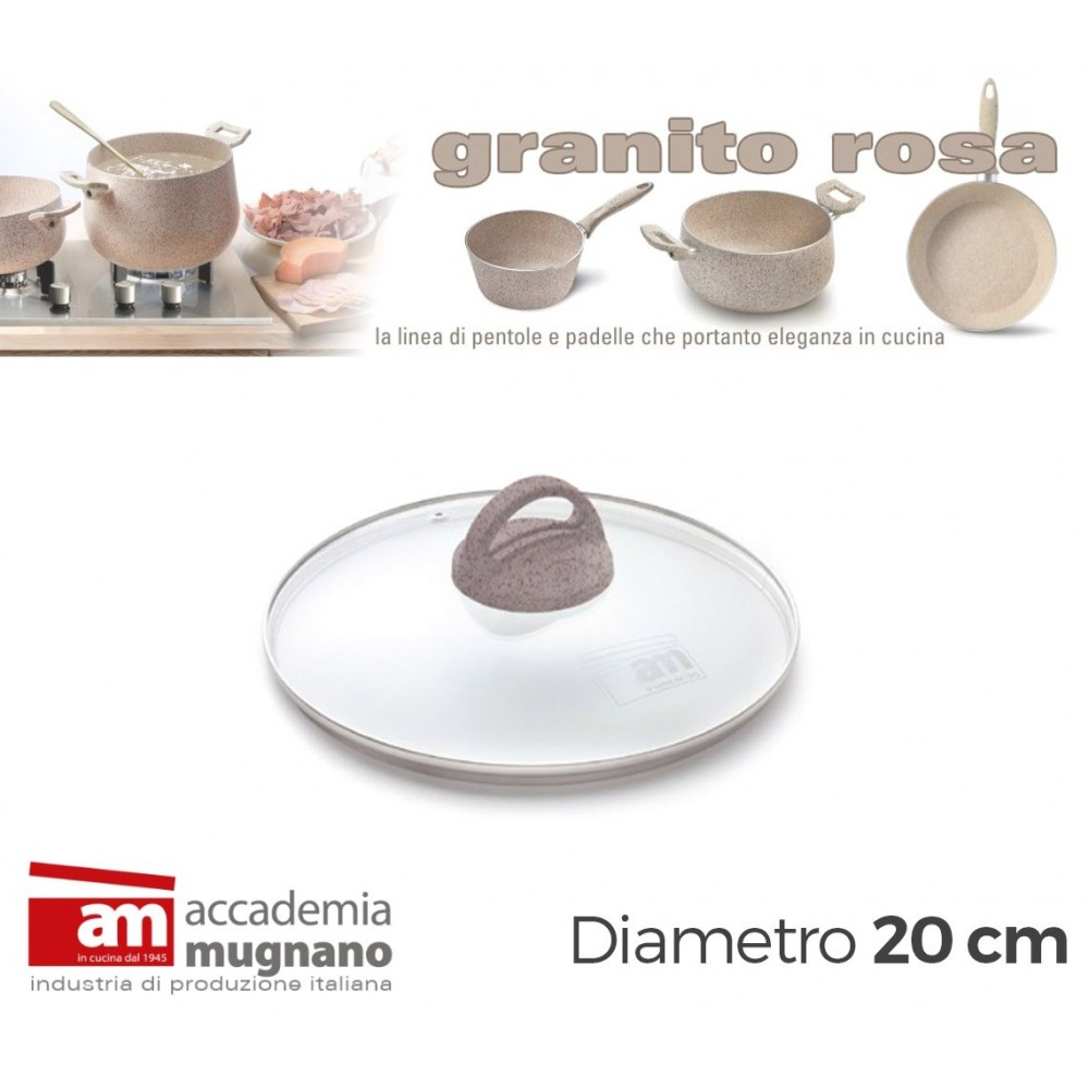 Coperchio Vetro 20 cm manico antiscivolo Natural Stone effetto pietra Accademia Mugnano GRANITO ROSA