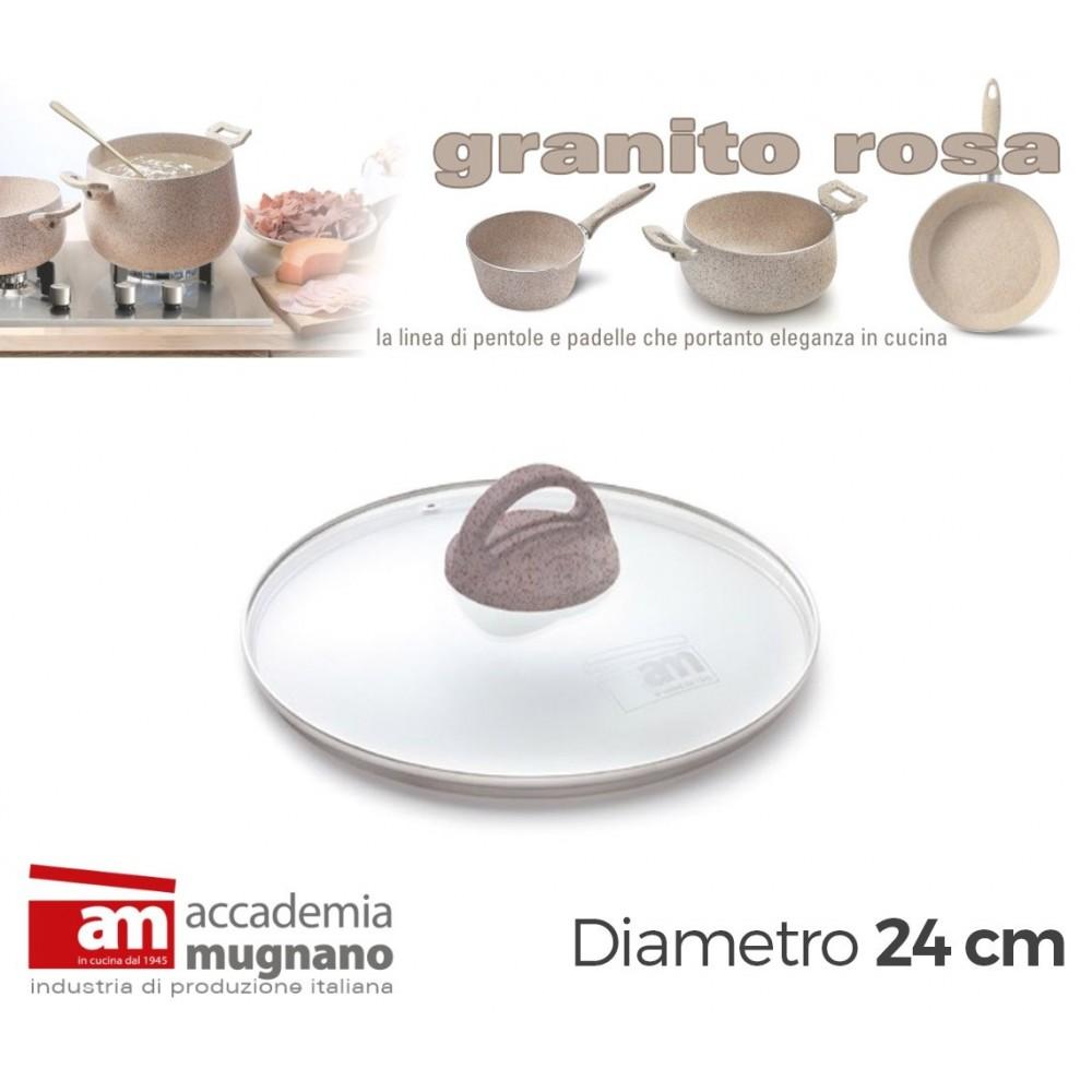 Coperchio Vetro 24 cm manico antiscivolo Natural Stone effetto pietra Accademia Mugnano GRANITO ROSA