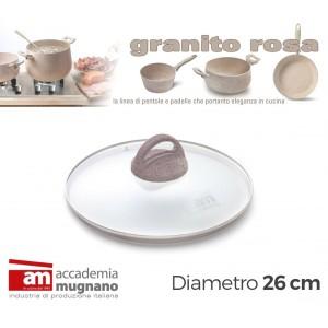 Coperchio in Vetro 26 cm manico antiscivolo Natural Stone effetto pietra Accademia Mugnano Linea GRANITO ROSA