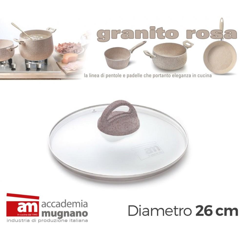 Coperchio Vetro 26 cm manico antiscivolo Natural Stone effetto pietra Accademia Mugnano GRANITO ROSA