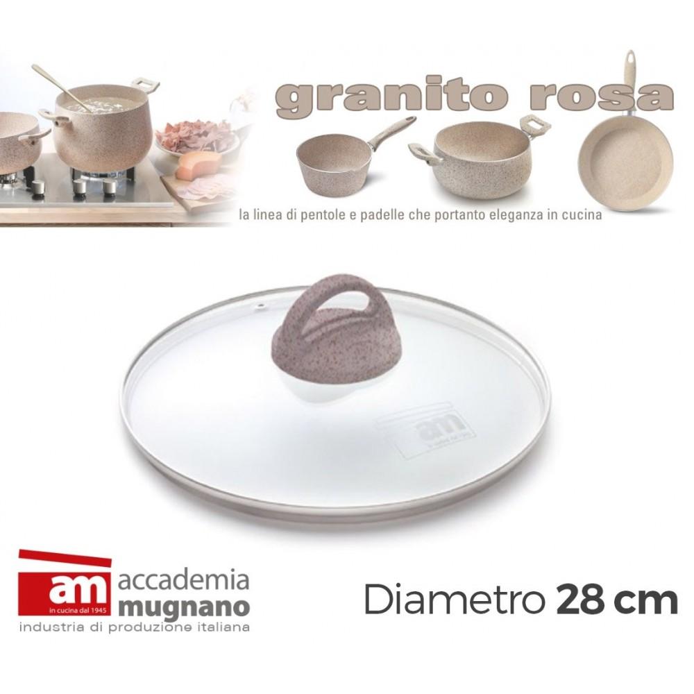 Coperchio Vetro 28 cm manico antiscivolo Natural Stone effetto pietra Accademia Mugnano GRANITO ROSA