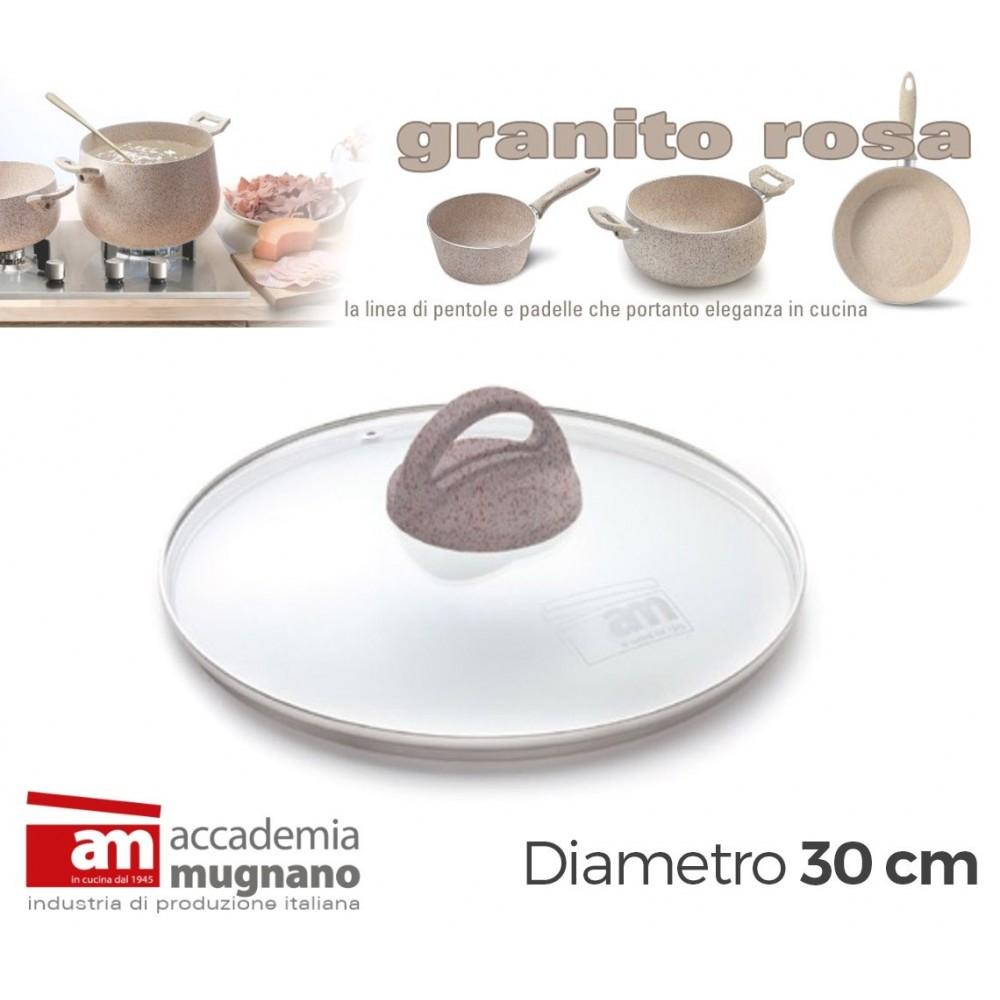 Coperchio Vetro 30 cm manico antiscivolo Natural Stone effetto pietra Accademia Mugnano GRANITO ROSA