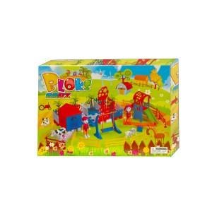 Playset costruzioni fattoria 69 pz da assemblare 2 personaggi animali  mulino e parco giochi
