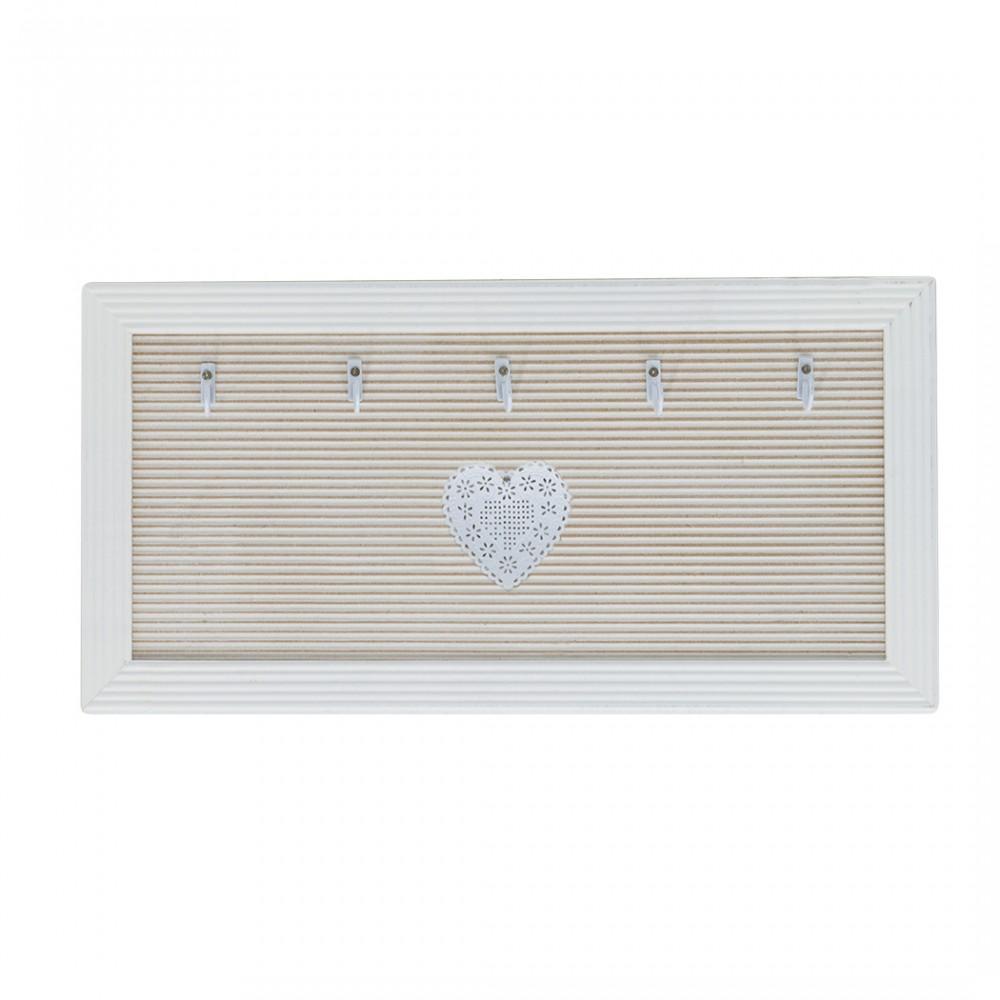Porta chiavi in legno con 5 ganci 435175 stile shabby con cuore centrale