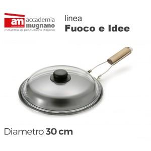 Spadella con coperchio in vetro 30 cm alluminio puro Accademia Mugnano Linea FUOCO & IDEE