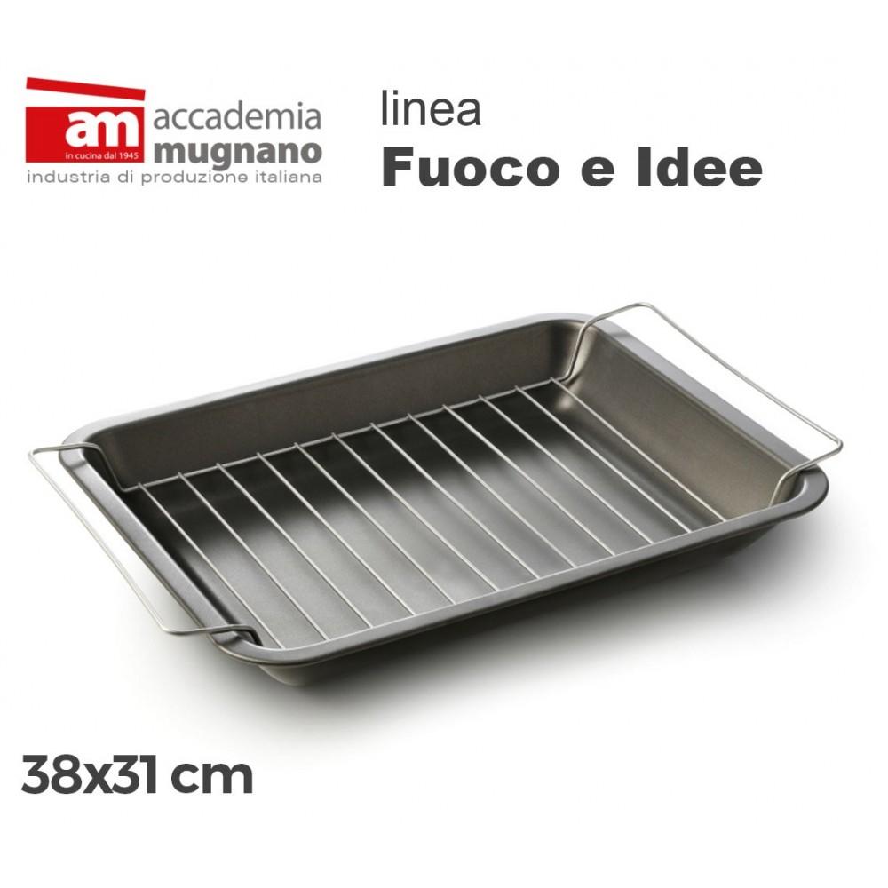 Teglia Grill antiaderente GRILLINA 38x31 cm alluminio puro Accademia Mugnano Linea FUOCO & IDEE