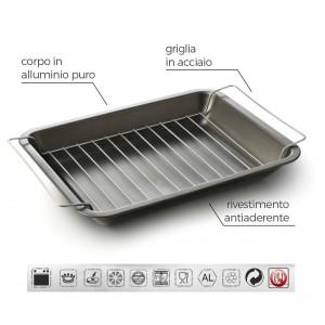 Teglia Grill 38x31 cm alluminio puro Accademia Mugnano Linea FUOCO & IDEE