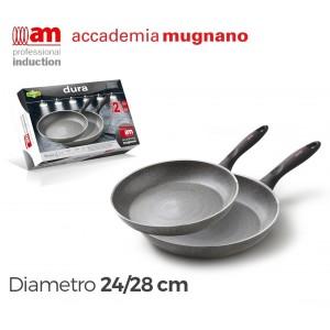 Bis padelle antiaderenti in pietra 24-28 cm Accademia Mugnano Linea DURA
