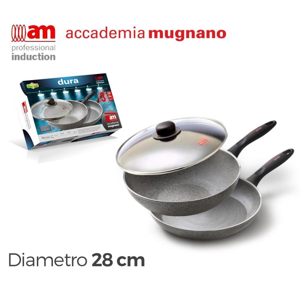 Set padella e saltapasta antiaderente in pietra a induzione 28 cm Accademia Mugnano Linea DURA