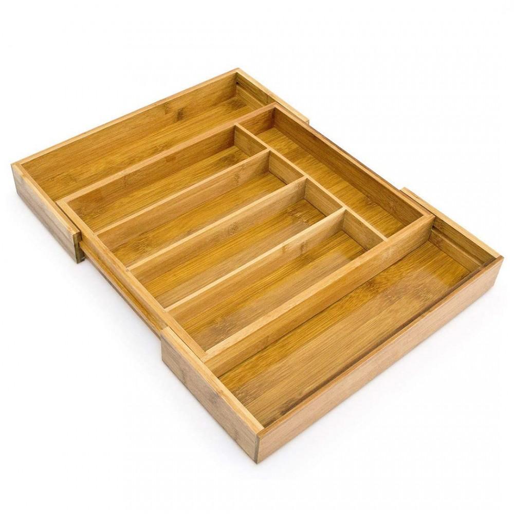 Portaposate da Cassetto in bambù Allungabile 550873 38x41x5 cm 7 Scompartimenti